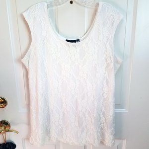 Antthony Women's White Lace Lined Tan Top